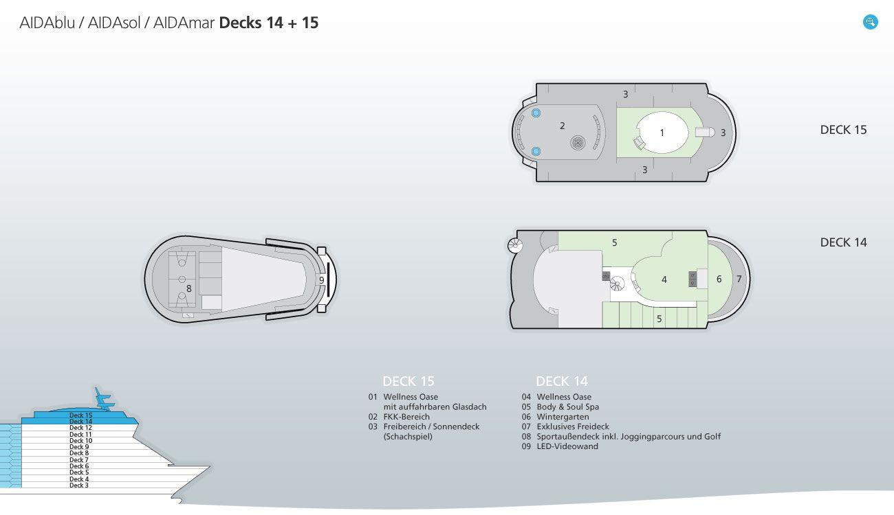 AIDAsol Deckplan - DECK 14+15 / © AIDA Cruises