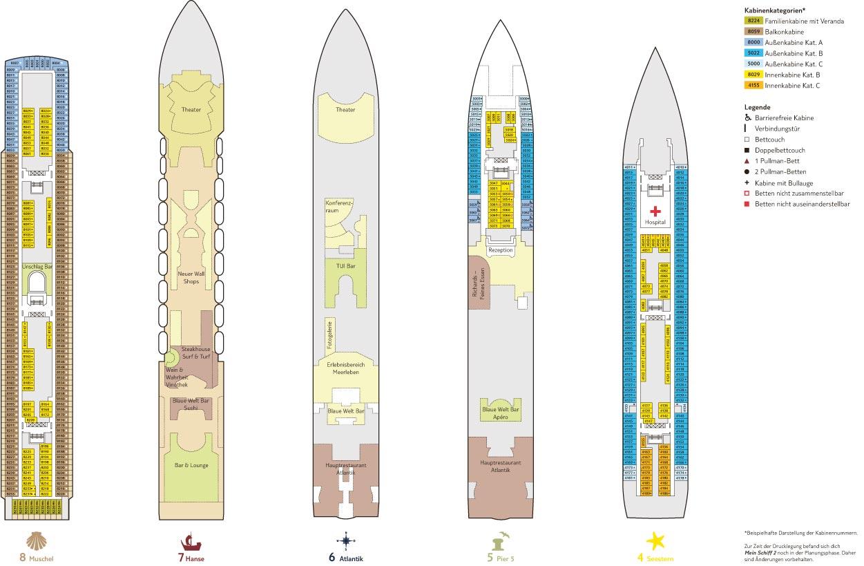 Mein Schiff 2 - Decks 4-8 / © TUI Cruises