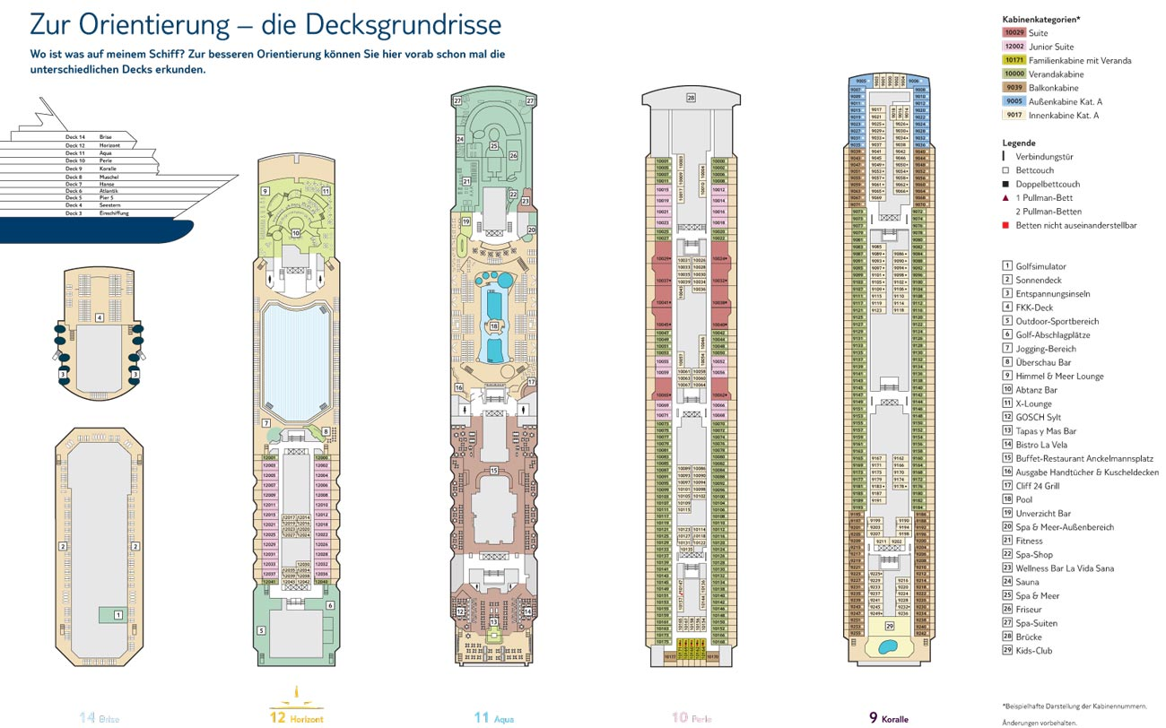 Mein Schiff 1 - Decks 4-8 / © TUI Cruises