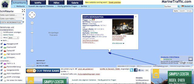 Marinetraffic: Schiffsortung und Informationen / © Screenshot www.marinetraffic.com