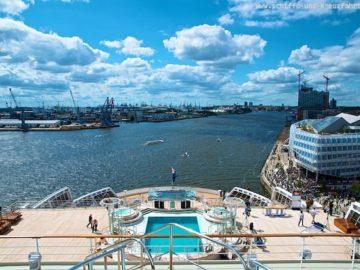 Queen Mary 2 - Aussicht auf das Heck