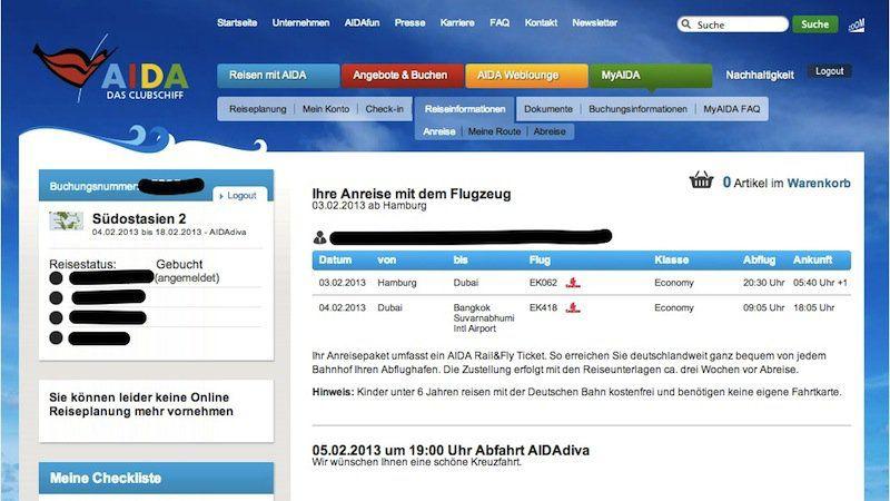 Flugdaten in myAIDA.de