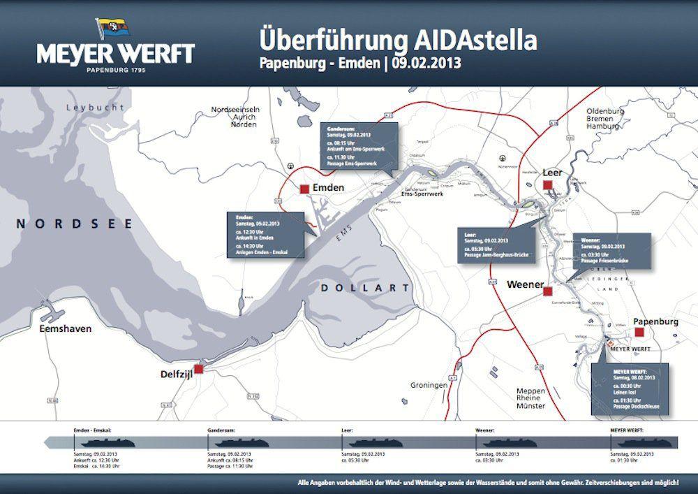 Plan der AIDAstella Emsüberführung / © Meyer Werft