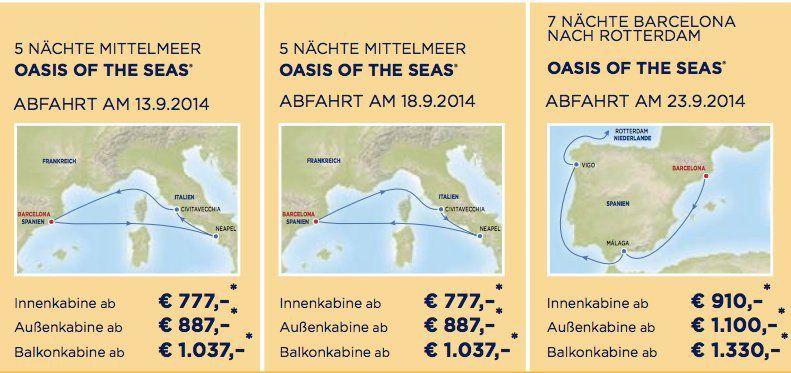 Preise Oasis of the Seas in Europa