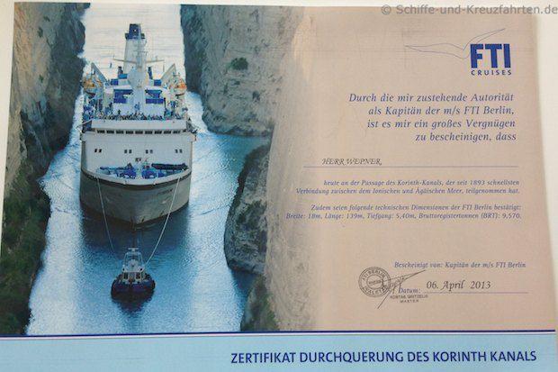 Zerfitikat - Korinthkanal-Passage