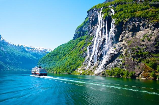 Die sieben Schwestern im Geiranger Fjord