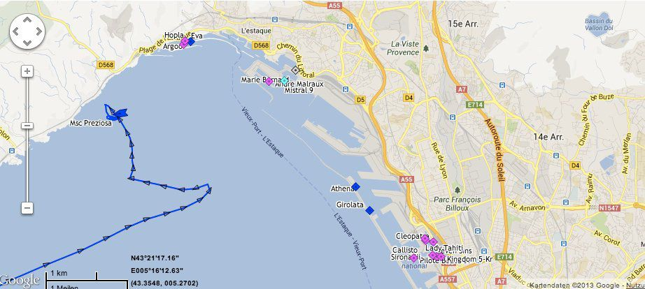 MSC Preziosa in Marseille / © www.marinetraffic.com