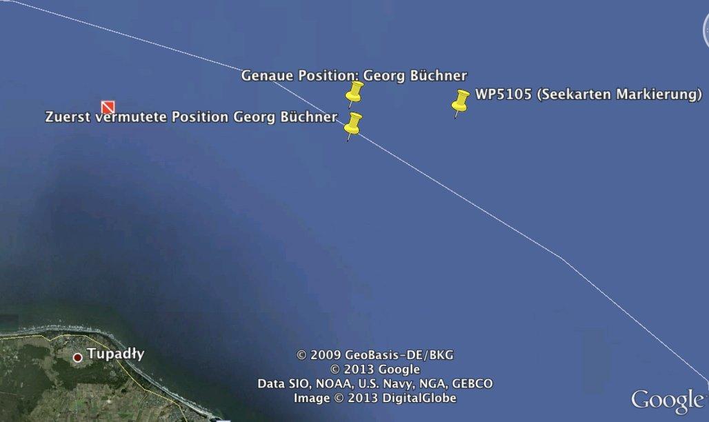 Tiefenmarkierung Seekarte - Vergleich / © Google Earth
