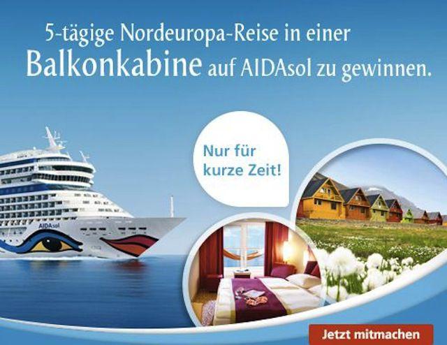 Gewinnt beispielsweise eine Reise mit AIDA Cruises