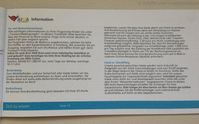 AIDA Reiseunterlagen - Allgemeine Informationen