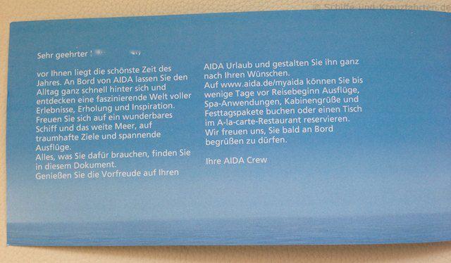 AIDA Reiseunterlagen - Begrüßungsseite