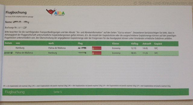 AIDA Reiseunterlagen - Fluginformationen