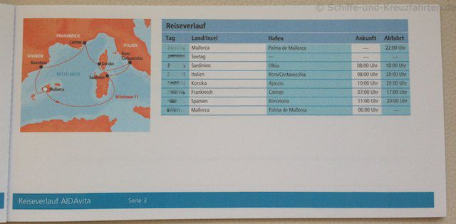 AIDA Reiseunterlagen - Routenverlauf