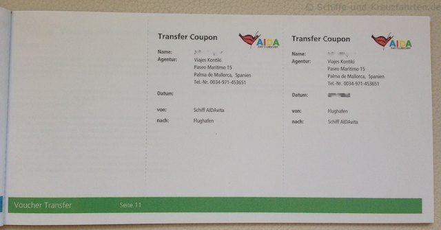 AIDA Reiseunterlagen - Transfer Coupons