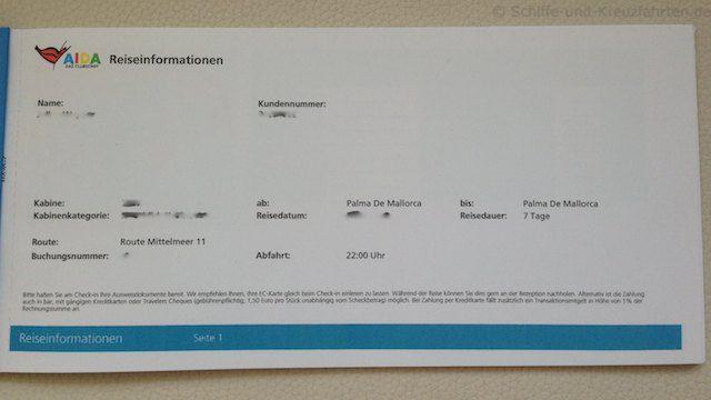 AIDA Reiseunterlagen - Buchungsübersicht
