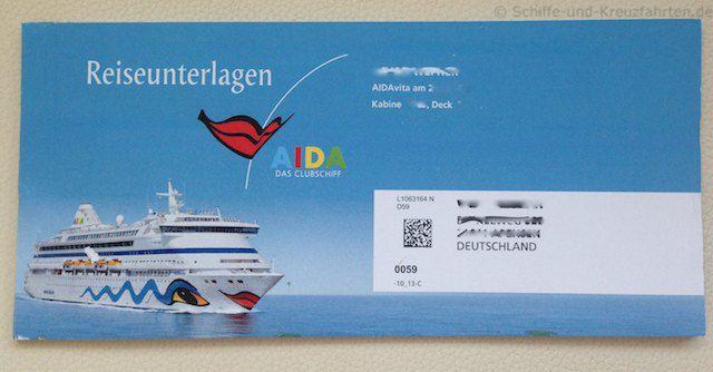 AIDA Reiseunterlagen - Umschlag