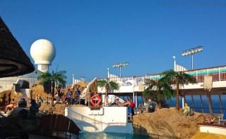 Poolshow-Probe auf der Bühne