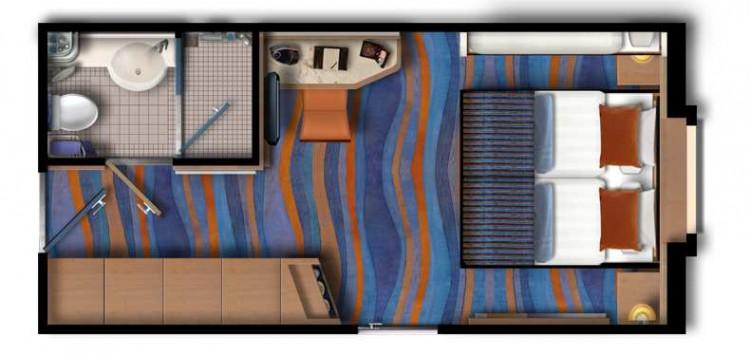 Grundriss: Mein Schiff 2 Aussenkabine / © TUI Cruises