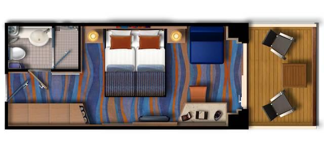 Grundriss: Mein Schiff 2 Balkonkabine / © TUI Cruises