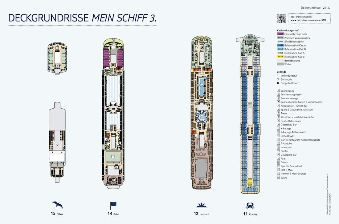 Mein Schiff 3 Deckplan / Deck 11, 12, 14 und 15