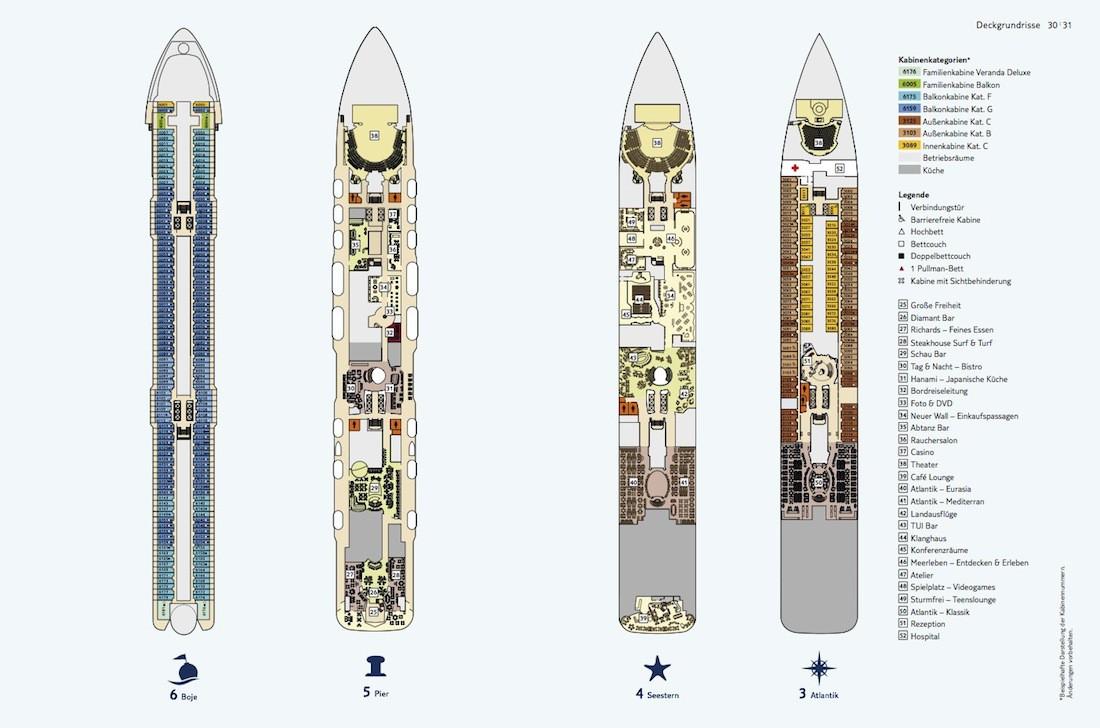 Mein Schiff 4 Deckplan / Deck 3, 4, 5 und 6