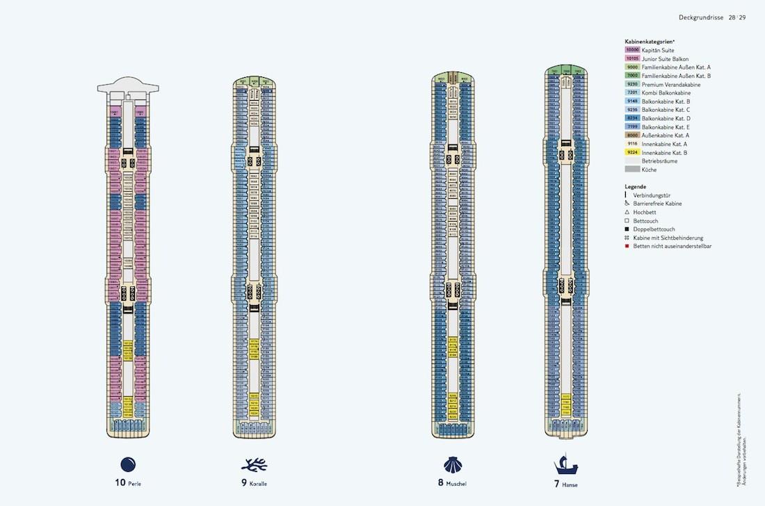 Mein Schiff 4 Deckplan / Deck 7, 8, 9 und 10