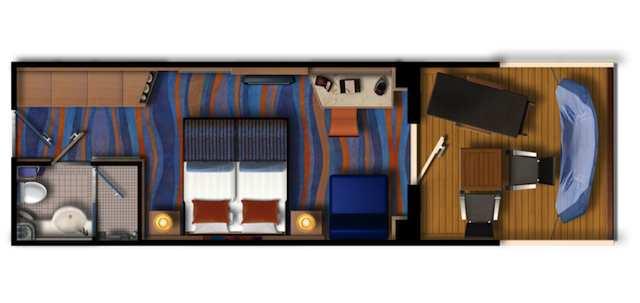 Grundriss: Mein Schiff 2 Verandakabine / © TUI Cruises