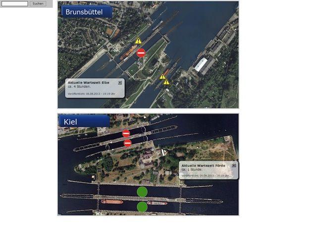 Schleusenverfügbarkeit NOK / © Screenshot http://www.wsa-brunsbuettel.wsv.de/