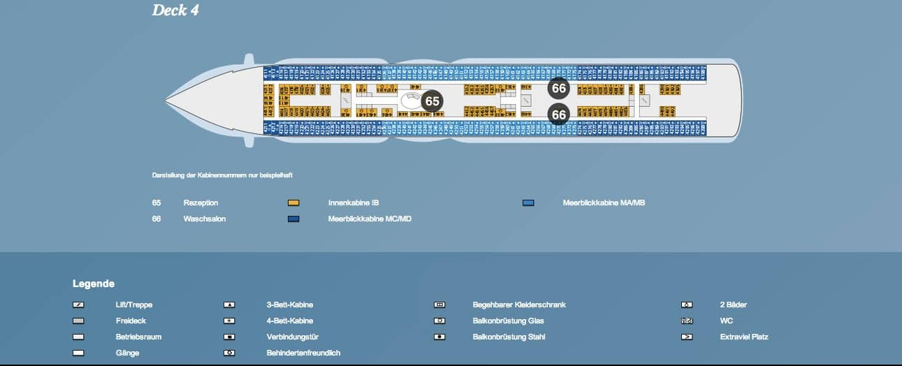 AIDAprima Deck 4 / © AIDA Cruises