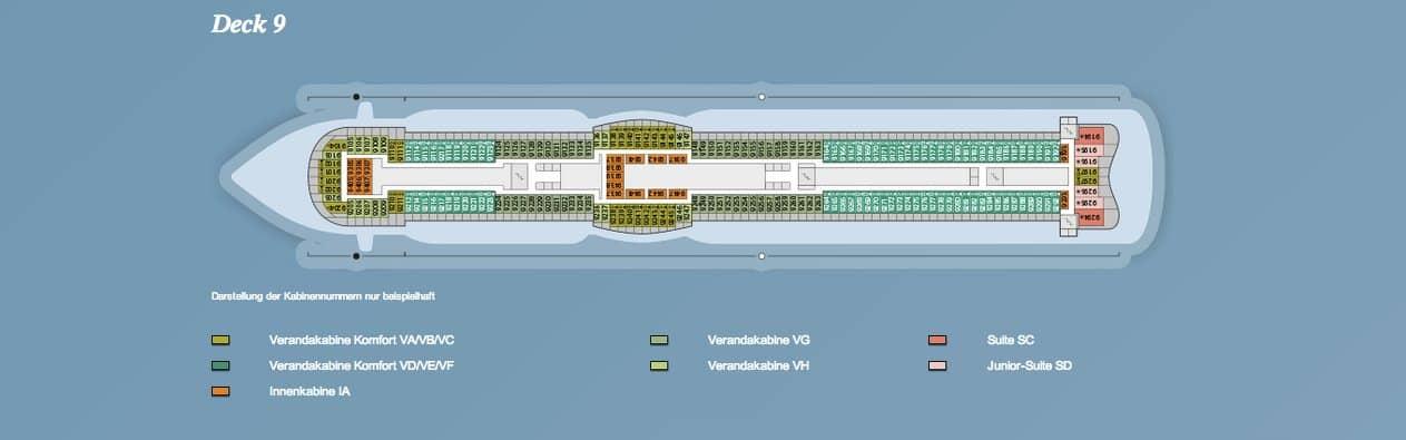 AIDAprima Deck 9 / © AIDA Cruises