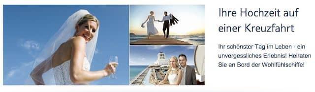 Heiraten auf der Mein Schiff von TUI Cruises / © Screenshot Tuicruises.com