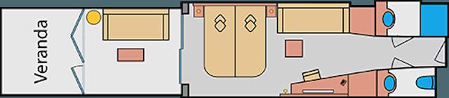 Grundriss: Lanaikabinen (Verandakabinen) auf AIDAprima / © AIDA Cruises