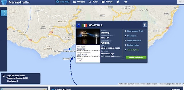 AIDAstella mit medizinischem Notfall in Funchal / © Marinetraffic (Screenshot)