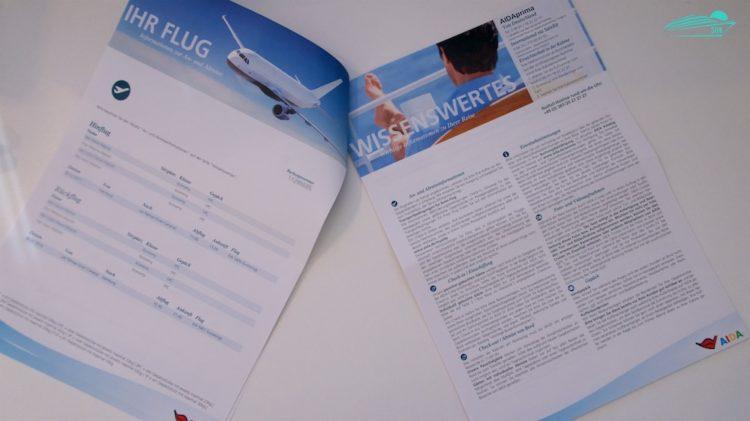 Fluginformationen in den neuen AIDA Reiseunterlagen