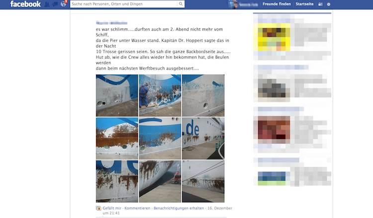 AIDAblu Beschädigungen - Reparaturarbeiten / © Screenshot Facebook