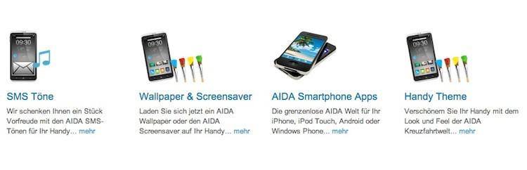 AIDA Klingeltöne, SMS Töne, Hintergrundbilder und Designs für Handys