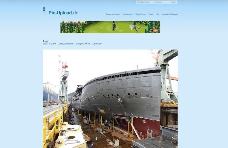 Bug der AIDAprima im Bau auf der Mitsubishi Werft in Nagasaki / © Screenshot