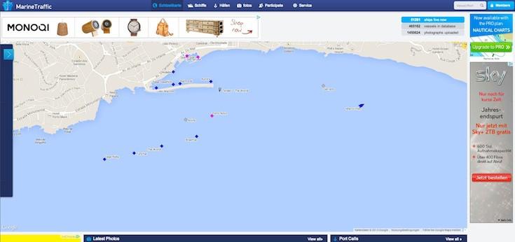 Kreuzfahrtschiffe an Silvester 2013 in Funchal / © Screenshot Marinetraffic.com