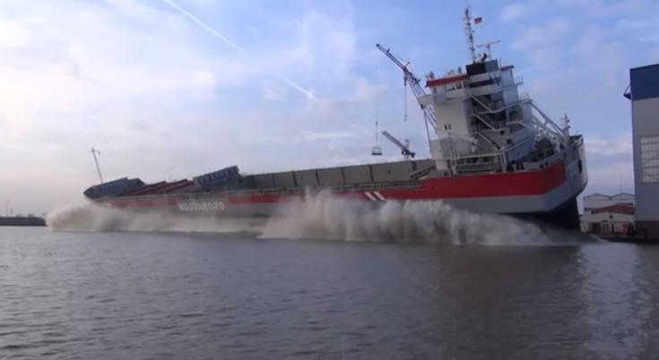 Stapellauf der REGGEBORG auf der Ferus Smit Werft in Leer / © Inselvideo (Youtube)