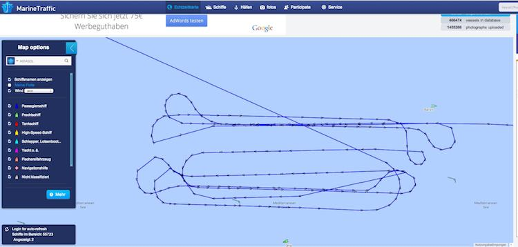 AIDAsol Kurs - Mann über Bord - Tests / © Marinetraffic.om (Screenshot)