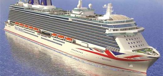 P&O Britannia mit dem Union Jack am Bug / © P&O Cruises