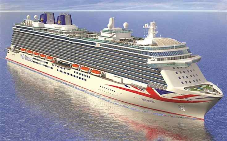 P&O Britannia mit dem Union Jack am Bug / © P&O Cruises