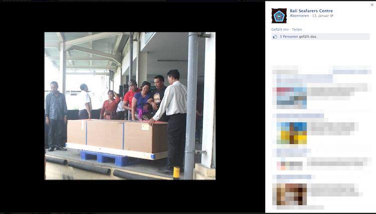 Rückführung des Leichnams / © Screenshot FB Bali Seafarers Center