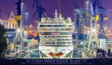 Azura, Rotterdam, Europa 2 & AIDAdiva bei Blohm und Voss