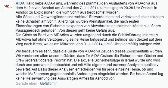 AIDA Statement zu Ashdod und dem Raketenangriff
