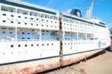 Die zerschnitte MSC Armonia im Baudock
