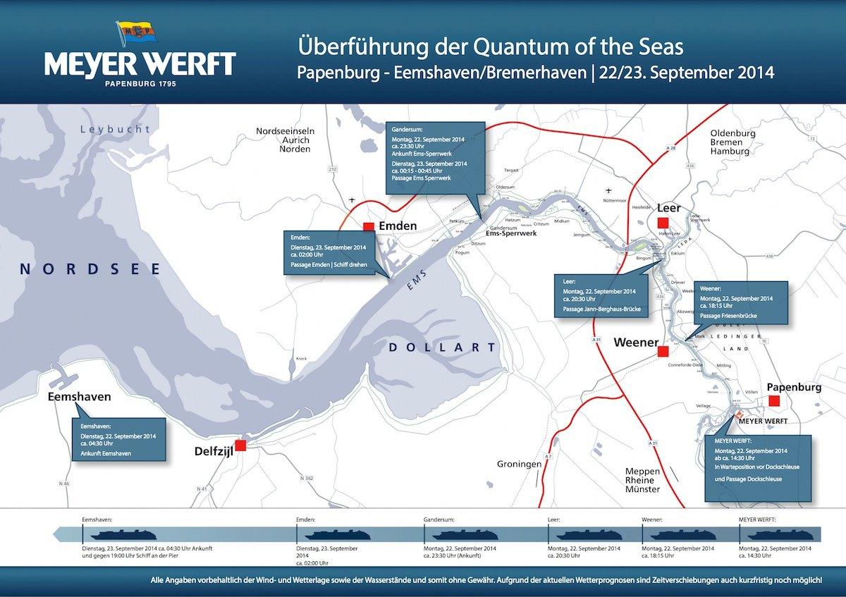 Zeitplan Quantum of the Seas - Emsüberführung / © Meyer Werft