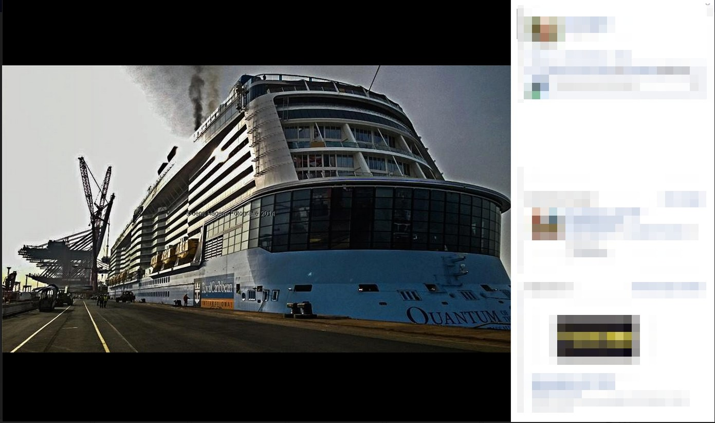 Quatum of the Seas mit schwarzen Wolken / © Screenshot Facebook (Copyright Jens Hagens)