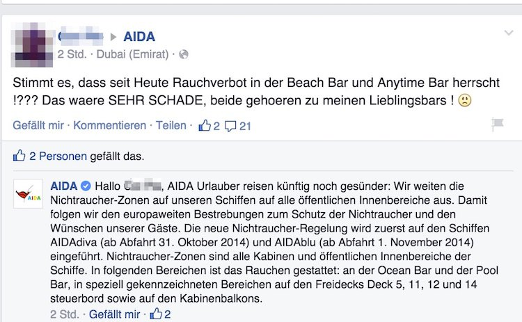 AIDA neuer Nichtraucherschutz an Bord / © AIDA Cruises Facebook