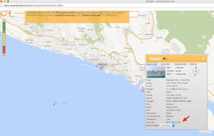 MS Delphin: Aktuelle Position via Vesseltracker.com / © Screenshot www.vesseltracker.com